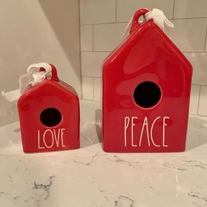 Rae Dunn red PEACE & mini LOVE birdhouse set